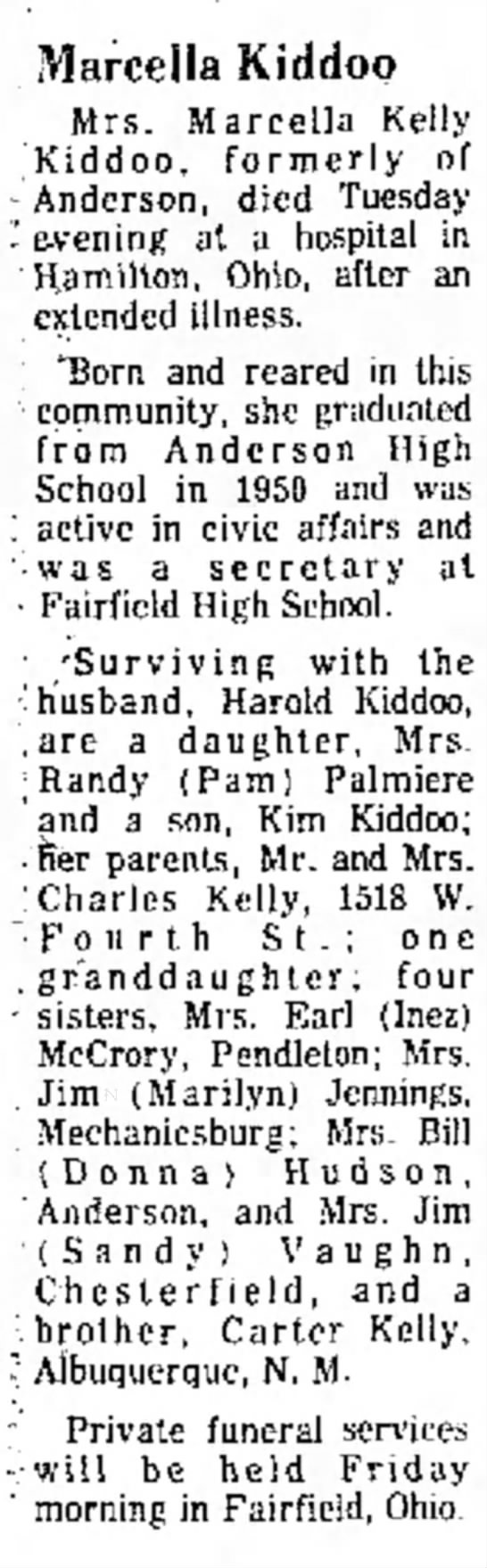 Marcella Kelly Obit - Anderson Daily Bulletin - 15 Sep 1976 -