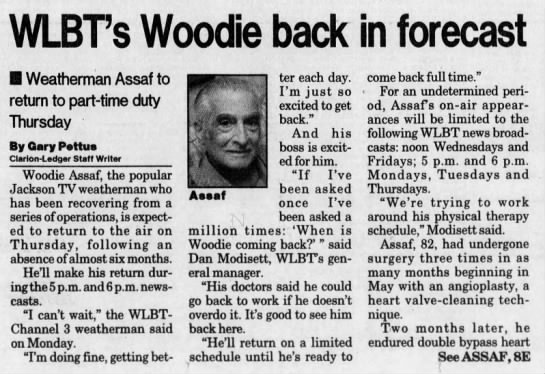 After illness, WLBT's Woodie Assaf to be back on the air later ...