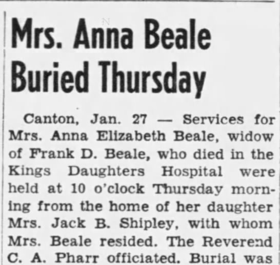 Part 1 of 2 Anna Beal's obituary in Canton paper 1949 -
