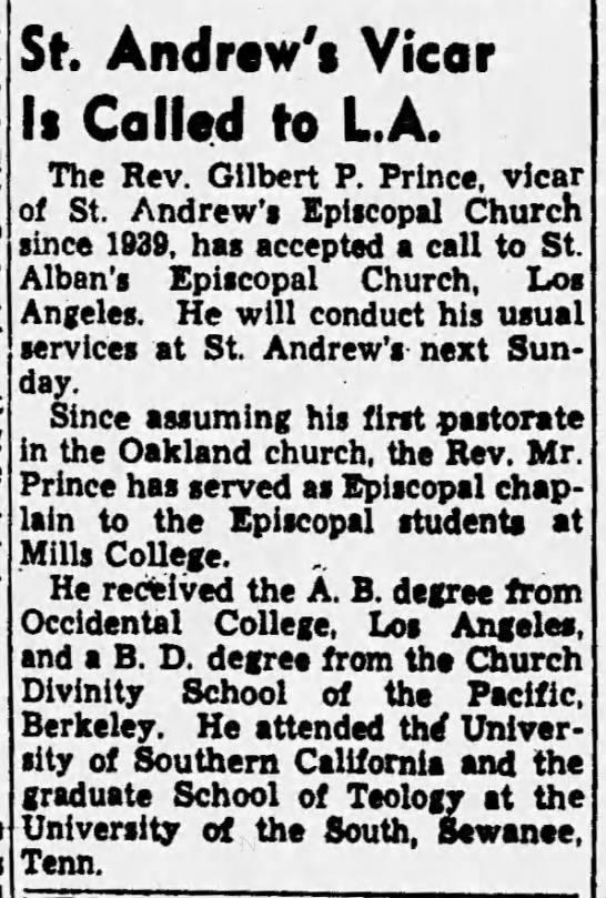 St. Andrew's Episcopal - Rev. Gilbert P. Prince called to LA -