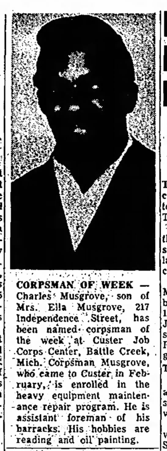 Charles Musgrove son of Ella Musgrove named Corpsman of the Week -