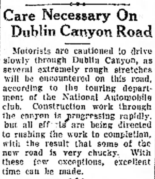 Care Necessary on Dublin Canyon Road, 1928 -