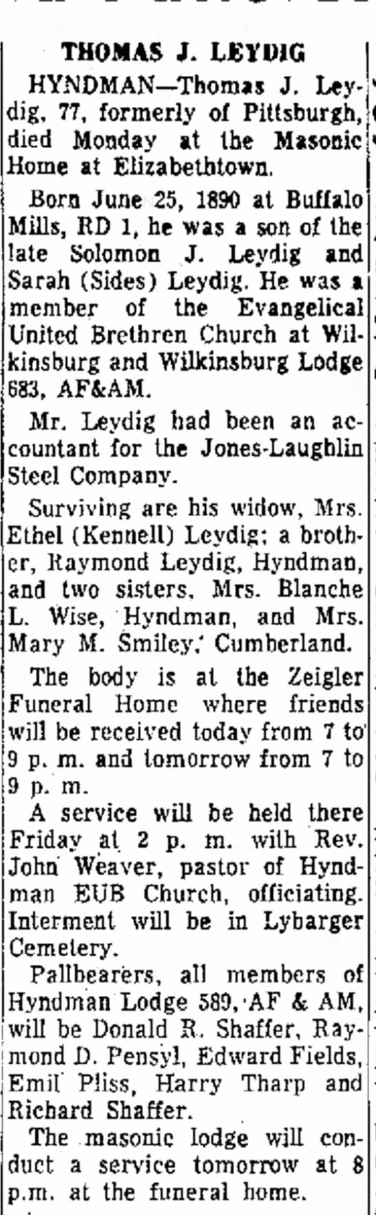 Thomas J. Leydig, Blanche L. Wise's Brother's Death Notice 1967 -