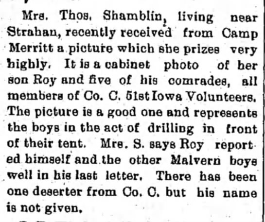 Notes...Mrs. Thos. Shamblin, The Malvern Leader, (Malvern, Iowa), 11 Aug 1898, page 2, column 1.  -