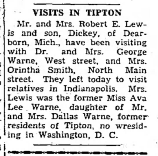 Tipton Tribune 9 Nov 1946 pg 3 col 8 - VISITS IN TIPTON Mr. and Mrs. Robert E. Lewis...