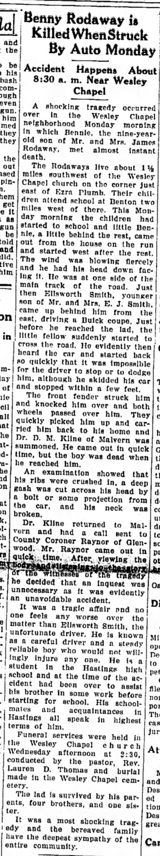 Bennie Rodaway - Nov 1930 Accident - and the be oe his com evei gun bin tliej the'...
