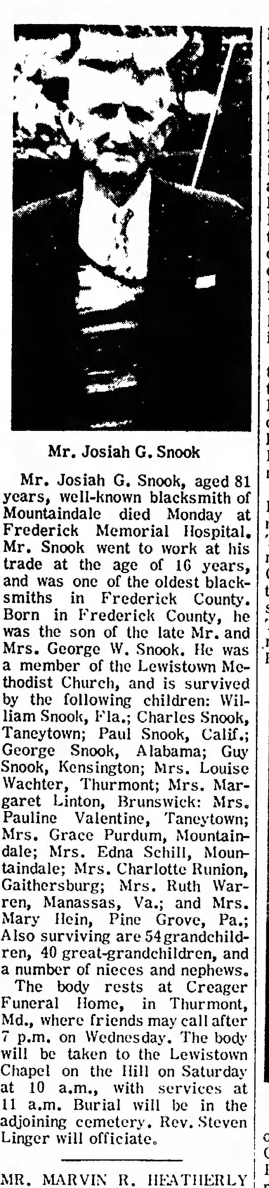 Josiah G. Snook Obit -