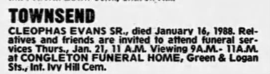Cleophes Townsend death notice Philly Daily News 01201988p58