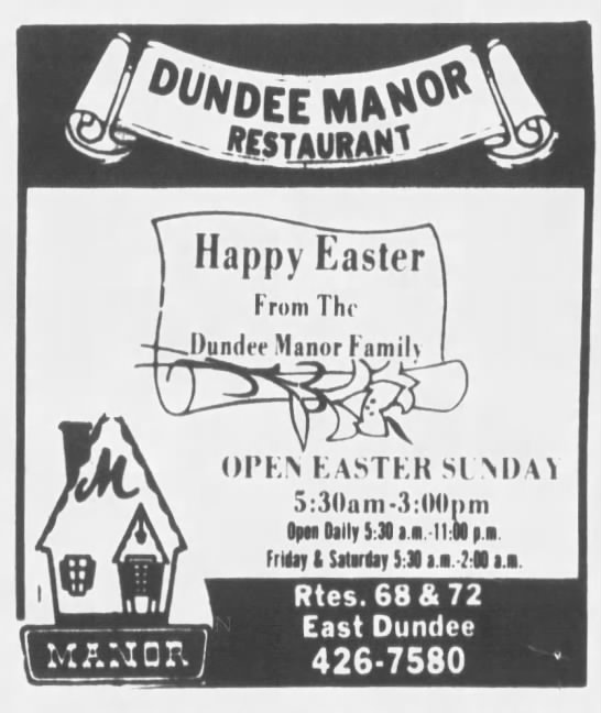 Happy Easter From The Dundee Manor Family - Dundee Manor Restaurant -