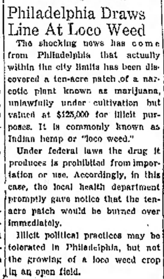 """Ilicit political practices"" okay, but ""growing a loco weed crop"" not okay.  -"