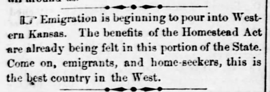 Kansas newspaper encourages people to move to the region under the Homestead Act -