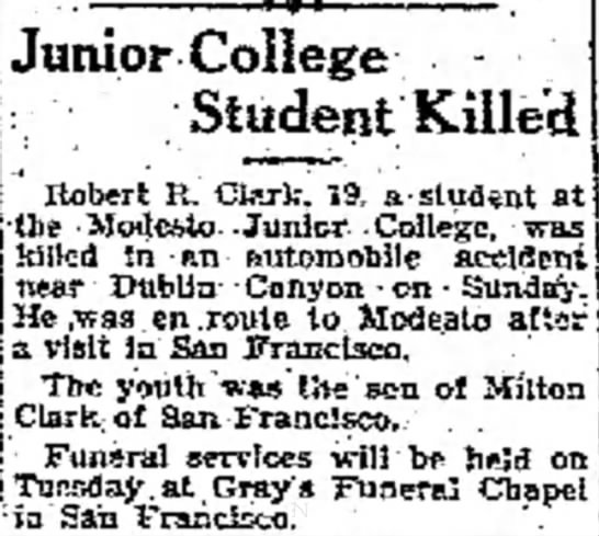 Dublin Canyon Accident, 1930 - boats not tils of Junior College Student Killed...