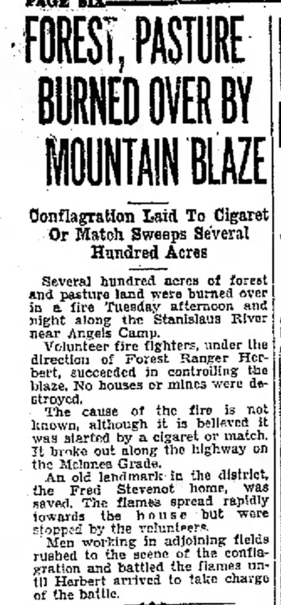 1929 forest fire near Stevenot home -