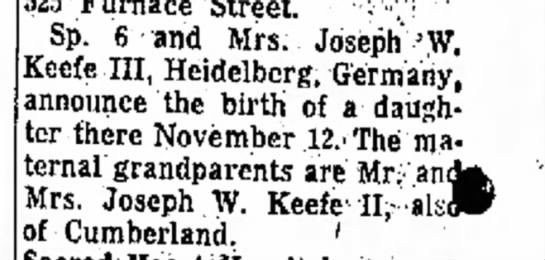 Christine Keefe is born in Germany. - 25 Furnace Street. ··;'-;·; Sp. 6 and Mrs....