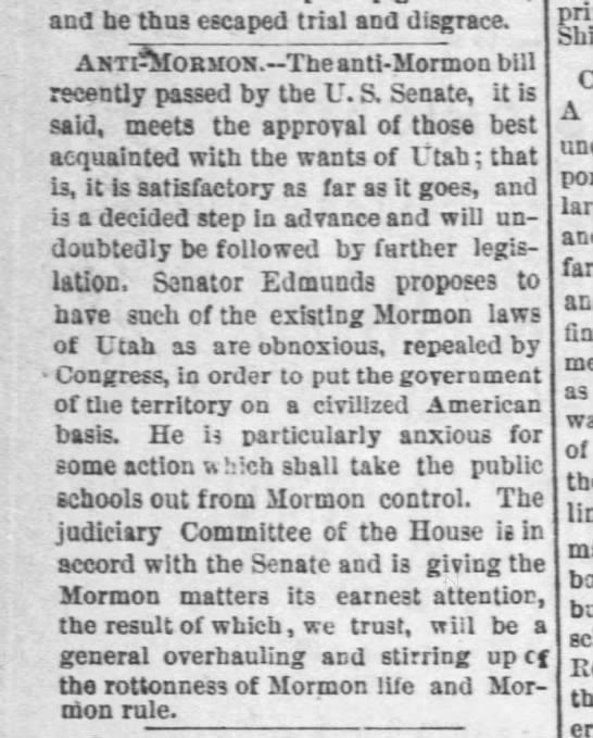 Anti Mormon legislation in the U.S. Senate. -