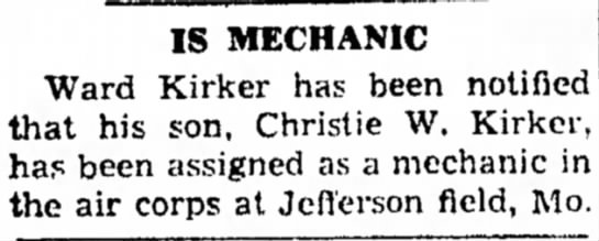 Christie Kirker in Missouri 1942 -