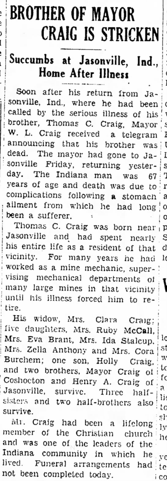 Obit: Thomas C Craig died at 67 in Jasonville Ind. 1936 -