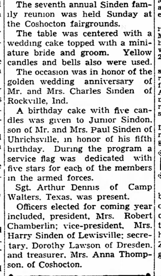 1942 Sinden Reunion - The Coshocton Tribune, Thursday, 17 Sept 1942, p. 16 -