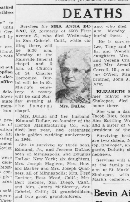 Anna Paradis DuLac, 72 died Wednesday, 11 May 1949, in San Gabriel, California -