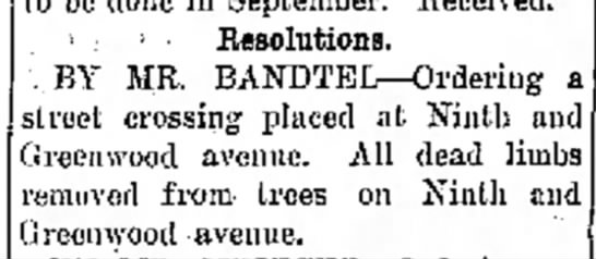 Mr. Bandtel, The Journal News Hamilton,OH Th. Oct. 5,1911 p.2 -