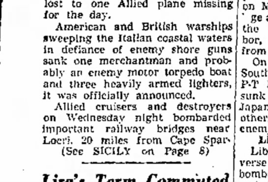 Tucson Daily Citizen 31 July 1943 2 - lost to one Allied plane missing for the day....