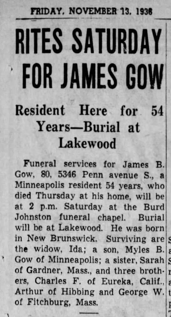 obit - FRIDAY. NOVEMBER 13. 1938 RITES SATURDAY FOR...