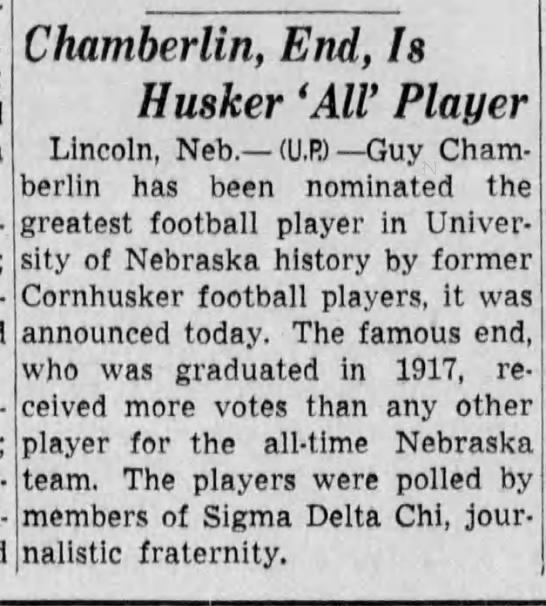 Chamberlin, End, Is Husker 'All' Player -