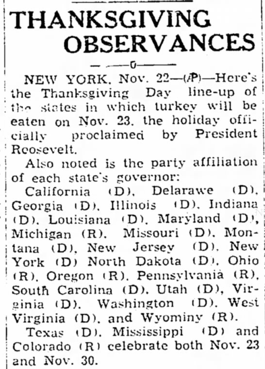 States follow Roosevelt's decision to celebrate Thanksgiving a week early -