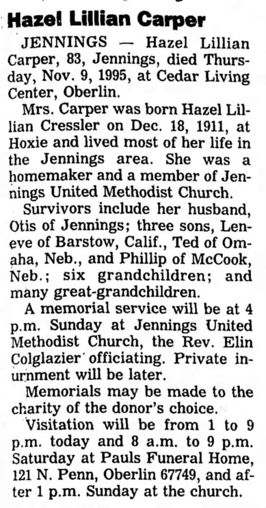 The Salina Journal (Salina, Kansas) 10 November 1995_ Pg. 9_ Hazel Lillian Cressler Carper obit - Hazel Lillian Carper JENNINGS - Hazel Lillian...