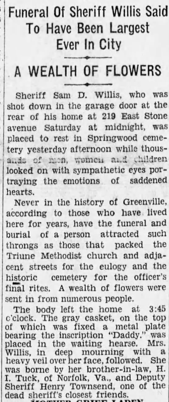 1927 widow of Sheriff Sam Willis supported by his best