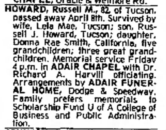 Another obit for Russell M. Howard. Tucson Daily Citizen, 10 April 1975, page 34. -