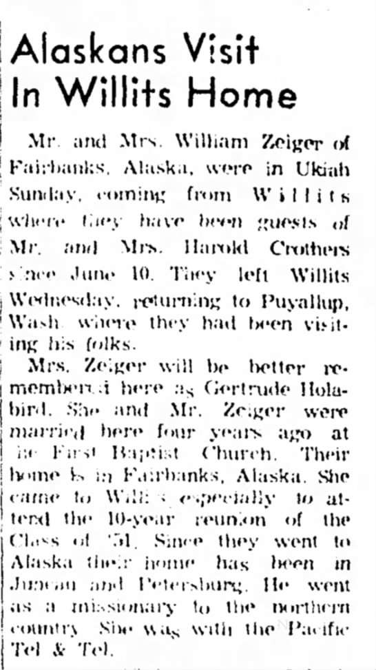 Zeiger visit to Willits for 10 reunion - Ukiah Daily Journal - 5 July 1961 -