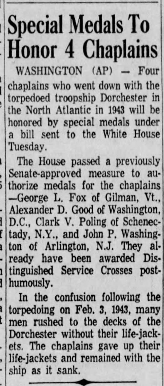 Special Medals To Honor 4 Chaplains -