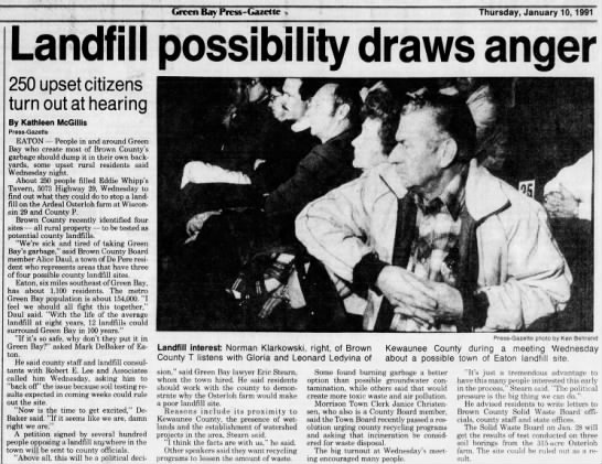 Landfill possibility draws anger 1/10/1991 -