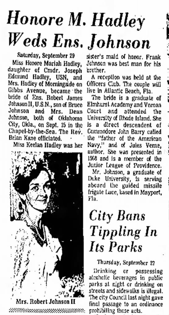 Honore Hadley weddingNewport Mercury 5 Oct 1973 -