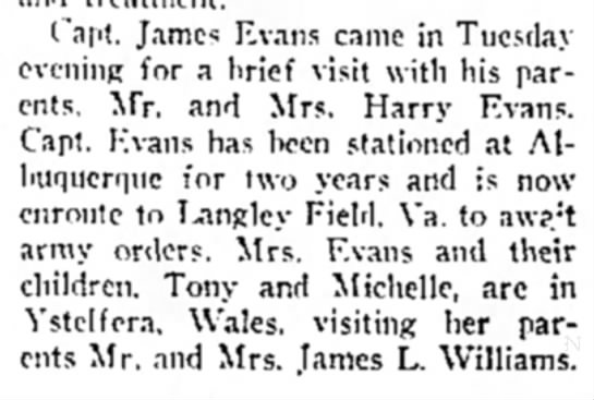 Capt James Evans visit.  Feb 28, 1952 Malvern Leader -
