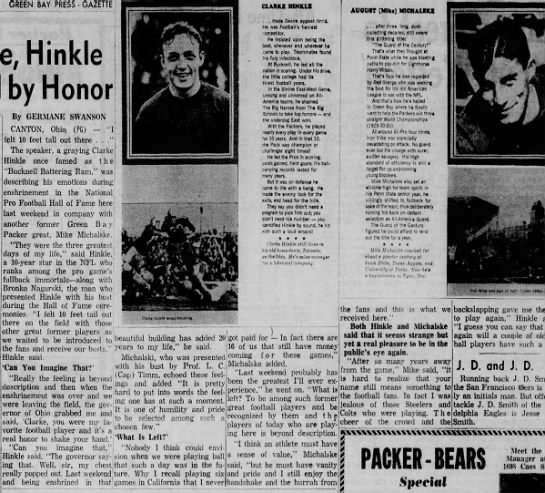 Michalske, Hinkle Humbled by Honor -