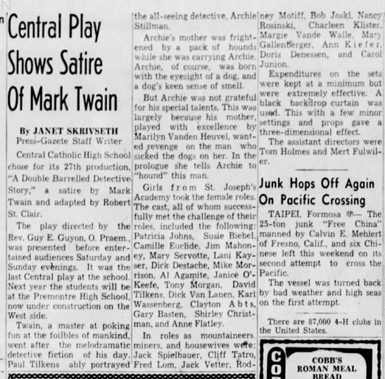 Central Play Shows Satire Of Mark Twain 4/18/1955 -