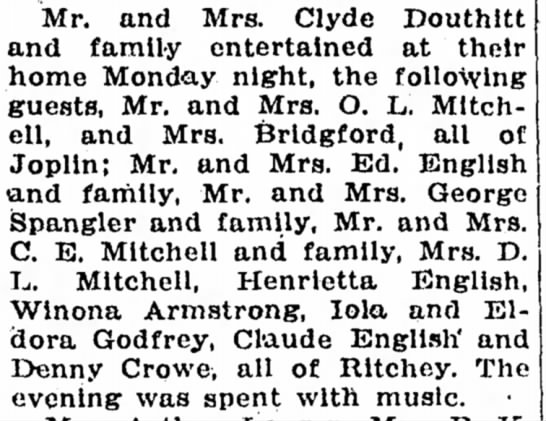 Mr and Mrs Clyde DouthittOct 17, 1929 -
