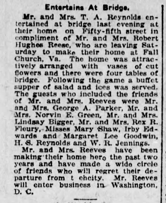 Society column excerpt, 1920 - Entertain At Bridge. Mr. and Mrs. T. A....