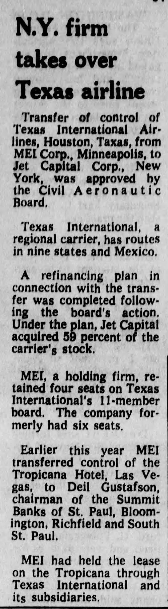 N.Y. firm takes over Texas airline -