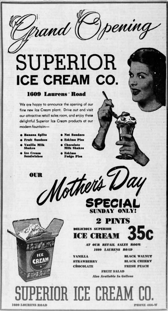 Superior Ice Cream Laurens Rd 1 May 1947 Gvilole News -