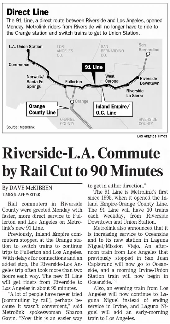 Riverside-L.A. Commute by Rail Cut to 90 Minutes -