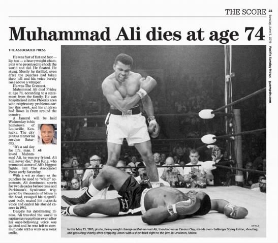 "2016 obituary: ""Muhammad Ali dies at age 74"" -"