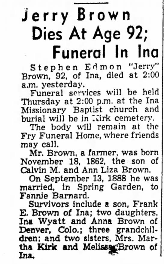 - ierry Brown Dies At Age 92; Funeral In Inn...