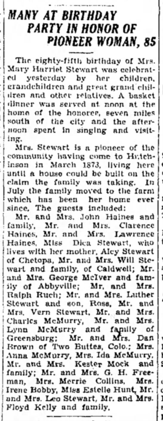1933 Harriet Stewart 85th Party 1 May Hutch News P6 -