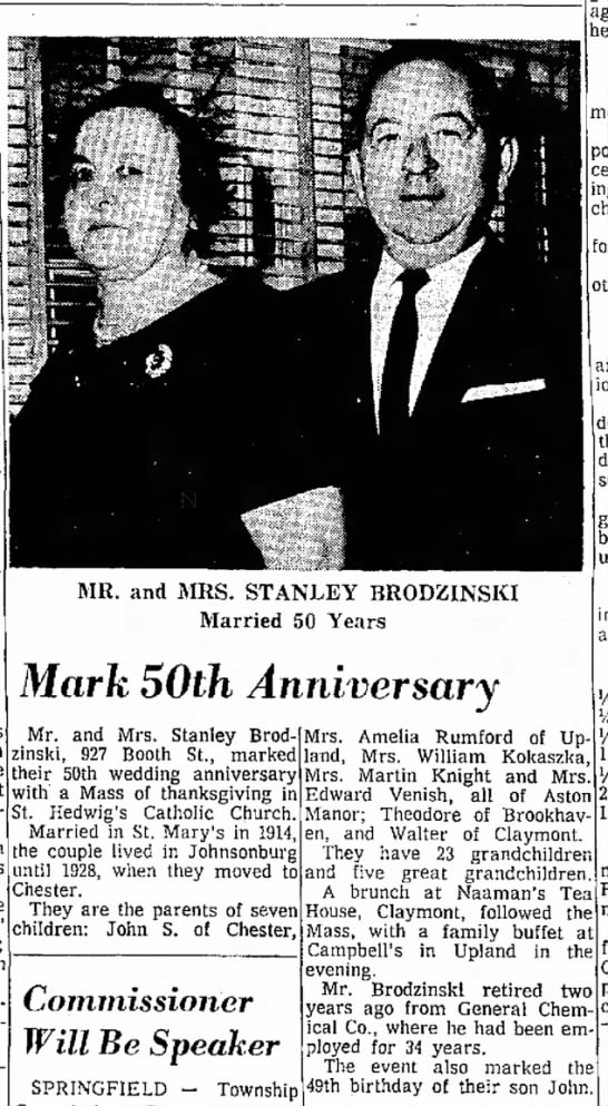 50th Wedding anniversary for Stanley and Sophia Brodzinski in 1964 -