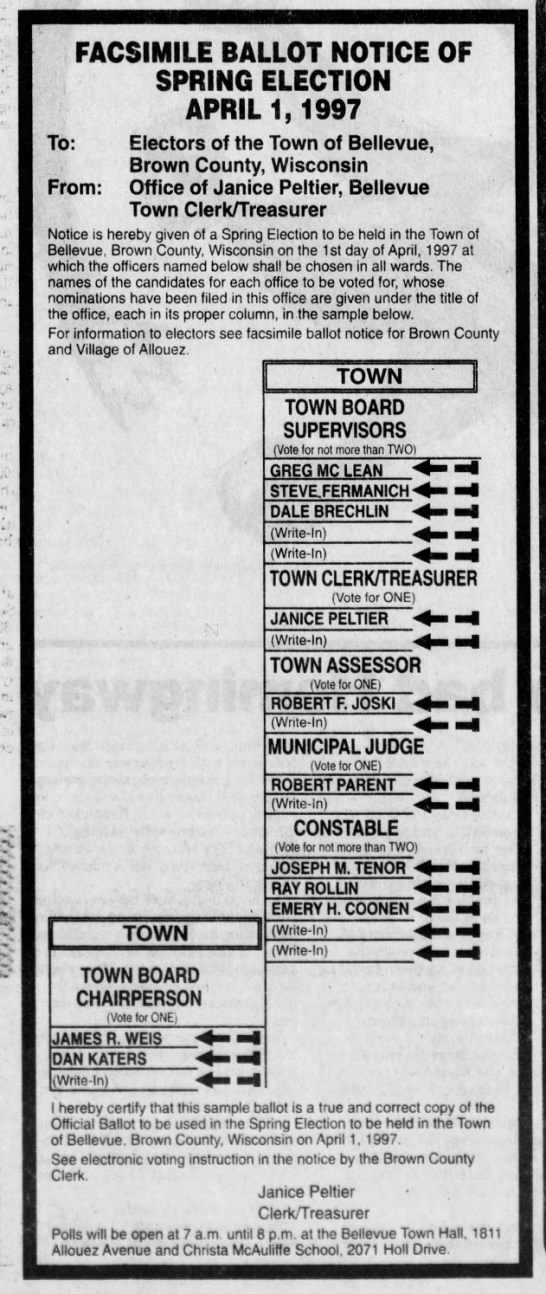 Facsimile Ballot Notice of Spring Election 3/31/1997 -