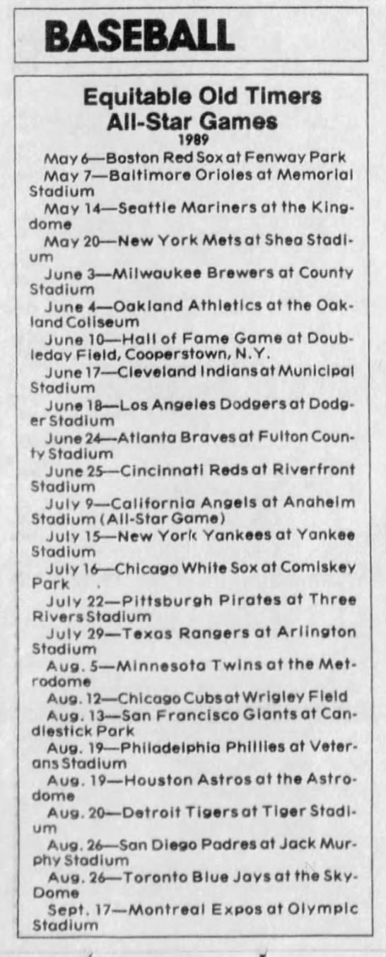 Equitable Old Timers All-Star Games -