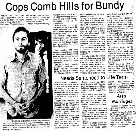 Bundy  - Cops Comb Hills for Bundy ASPEN, Colo. (AP) -...